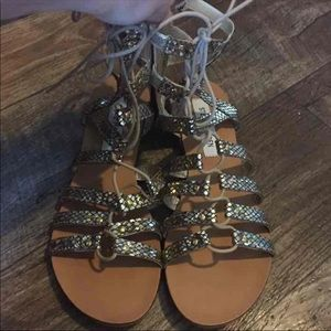 New Steve Madden Gold Snake Skin Sandals
